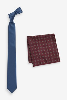 Tie With Burgundy Printed Pocket Square Set