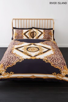 River Island Animal Print And Medallion Cotton Duvet Cover and Pillowcase Set