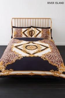 Komplet bawełniana poszwa na kołdrę i poszewka na poduszkę z bogato zdobionym zwierzęcym nadrukiem River Island