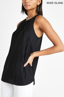 River Island Black Pleated Top