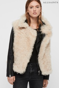 AllSaints Black 2-In-1 Combo Faux Fur Gilet Leather Jacket