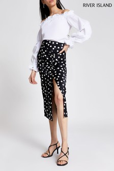 River Island Mono Polka Dot Barbie Midi Skirt