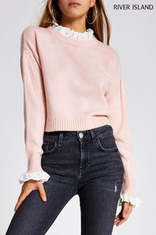 River Island Pink Light Lace Mix Crop Jumper