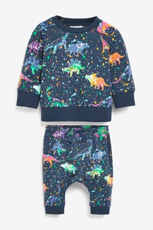 Dinosaur Printed Co-ord Jumper And Joggers Set (0mths-2yrs)