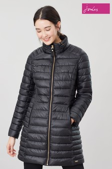 Joules Black Canterbury Long Padded Coat