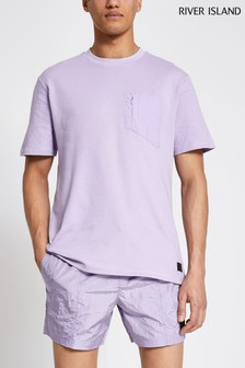 River Island Purple Light Nylon Panel T-Shirt