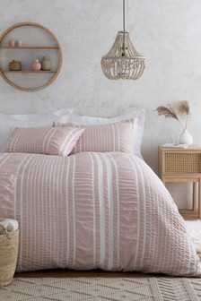 Seersucker Striped Duvet Cover And Pillowcase Set