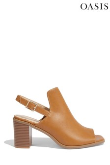 Oasis Tan Peep Toe Shoe Boots