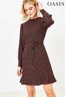 Oasis Natural Mini Leaf Print Dress