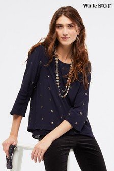 White Stuff Blue Ida Sequin Dotty Top
