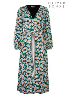 Oliver Bonas Black Bright Floral Midi Dress