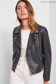Mint Velvet Grey Smoke Leather Biker Jacket