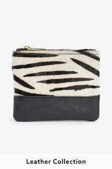Zebra Effect Leather Coin Purse