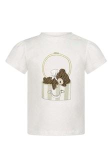 Baby Girls White Cotton Bear T-Shirt