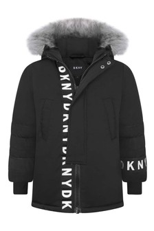 Boys Black Water Repellent Parka