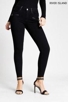 River Island Black Amelie Zippy Jeans