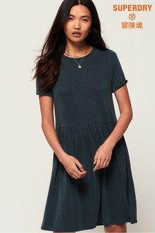Superdry Smocked T-Shirt Dress