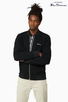 Ben Sherman Black Fabric Interest Zip Bomber Jacket
