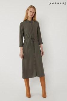 Warehouse Green Drawstring Midi Shirt Dress
