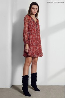 French Connection Red Esi Crinkle Printed Dress