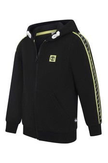 Boys Black Logo Zip Up Top