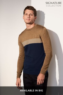 Merino Colourblock Crew Jumper
