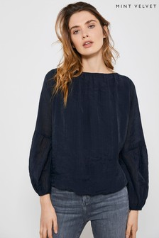 Mint Velvet Navy Puff Sleeve Blouse
