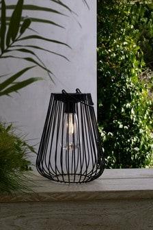 Solar Black Wire Lantern with Filament Bulb