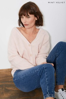 Mint Velvet Blush Pink Fluffy Cardigan