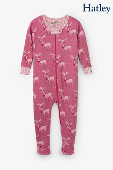 Hatley Pink Darling Deer Organic Cotton Footed Coverall Pyjamas