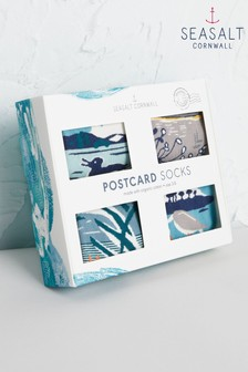 Seasalt Multi Postcard Socks Four Pack Box