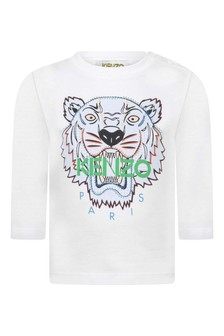 Boys White Jersey Long Sleeve Tiger T-Shirt
