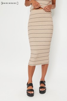 Warehouse Natural Stripe Knit Midi Pencil Skirt