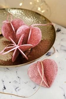 Set of 4 Heart Baubles