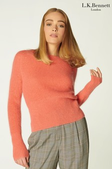 L.K.Bennett Orange Gia Mohair Roll Neck With Deep Hem And Cuff