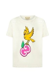 GUCCI Kids Girls White Cotton T-Shirt