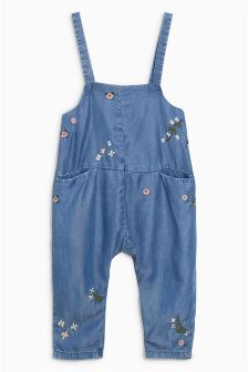 Floral Embellished Denim Long Leg Playsuit (3mths-6yrs)