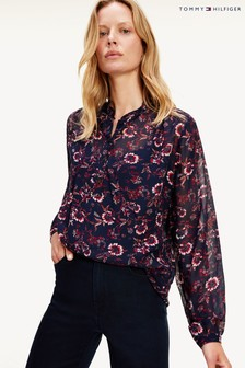 Tommy Hilfiger Purple Amia Pop Over Blouse