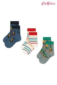 Cath Kidston® White Kids Skateboard Dino Scattered Socks Three Pack