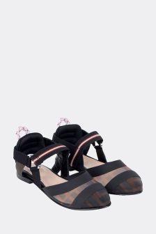 Fendi Kids Girls Black/Brown Logo Sandals