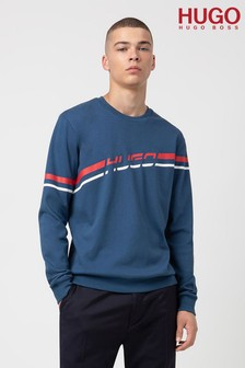 HUGO Blue Daladin Retro Stripe Crew Neck Sweatshirt