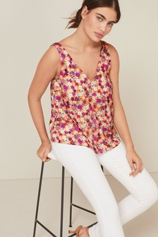 Satin V-Neck Cami Top