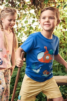 Polarn O. Pyret Blue GOTS Organic Printed T-Shirt
