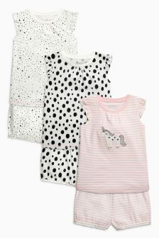 Unicorn And Spot Print Pyjamas Three Pack (9mths-8yrs)