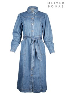 Oliver Bonas Denim Blue Midi Shirt Dress