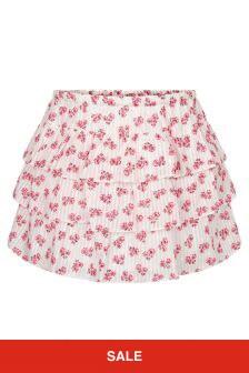 Bonpoint Girls Cream Cotton Skirt