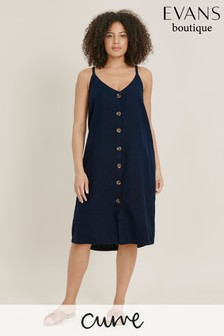 Evans Multi Pastel Curve Linen Button Dress