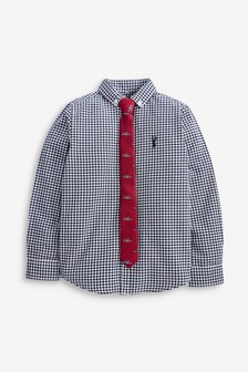 Long Sleeve Gingham Oxford Shirt And Tie Set (3-16yrs)