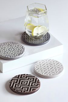 4 Pack Grey Geo Embossed Ceramic Coasters