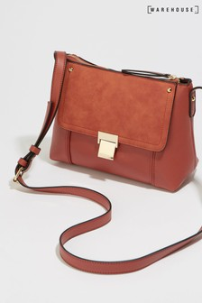 Warehouse Tan Clasp Detail Cross Body Bag